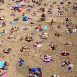 A bird's eye view of beach-goers.
