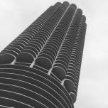 Black and white view of one of the Chicago Honeycomb buildings.