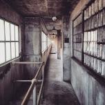 An abandoned hallway in Alcatraz prison.