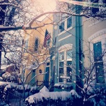 Row houses in the snow in Old Town Alexandria.