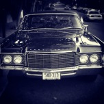 The front view of a Lincoln Continental.