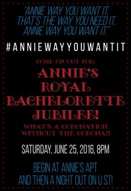 Annie Bachelorette Party invitation