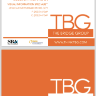 TBG double-sided business card design 1