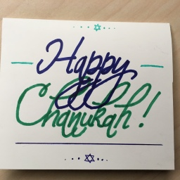 Green Blue Chanukah Card