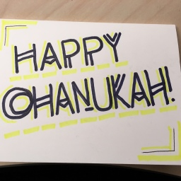 Yellow Black Chanukah Card