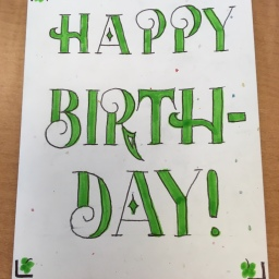 Green Clover Birthday Card