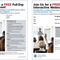 USCIS Teacher Training Seminar/Webinar Interactive Flyers